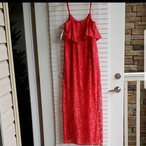 Dresses - Coral lace maxi dress